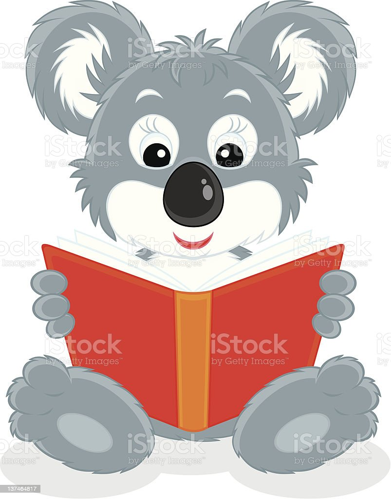 Koala cub reading a book royalty-free koala cub reading a book stock vector art & more images of animal