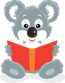 Vector clip-art illustration of a Koala bear cub reading a red book