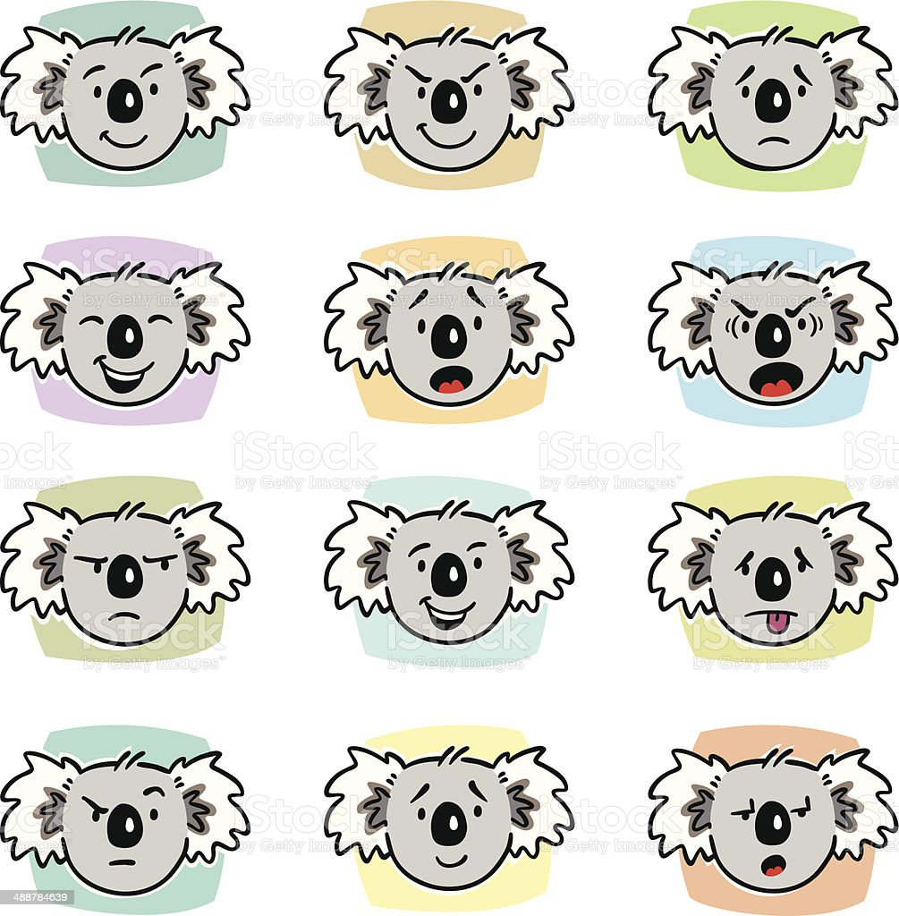 Koala Expressions royalty-free stock vector art