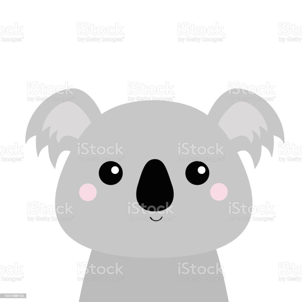 Ilustración de Cabeza De La Cara De Koala Silueta Gris Animales ...
