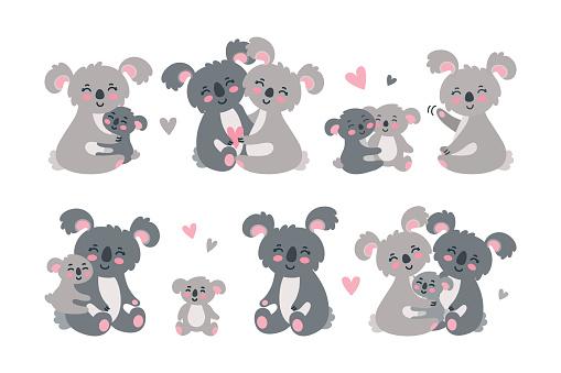 Koala family set. Hugging and loving koala parents with babies. Vector illustration