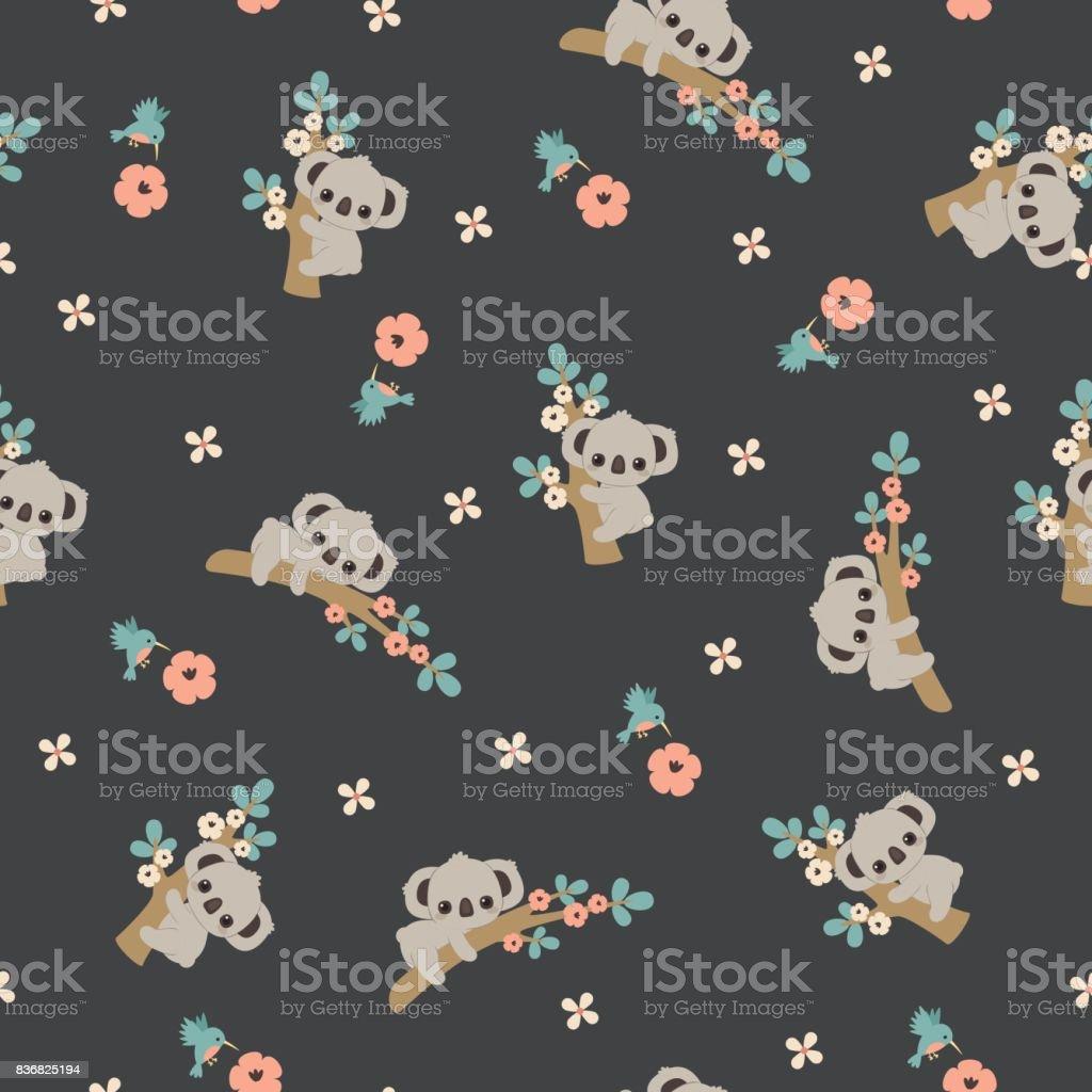 Koala floral seamless pattern vector art illustration
