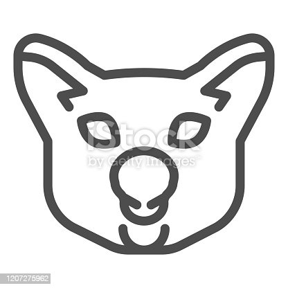 istock Koala head line icon. Cute simple animal face silhouette. Animals vector design concept, outline style pictogram on white background, use for web and app. Eps 10. 1207275962