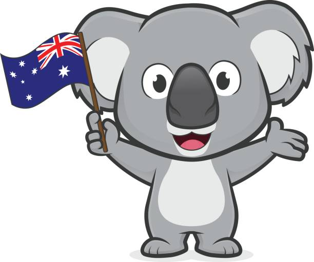 koala holding australian flag - koala stock illustrations