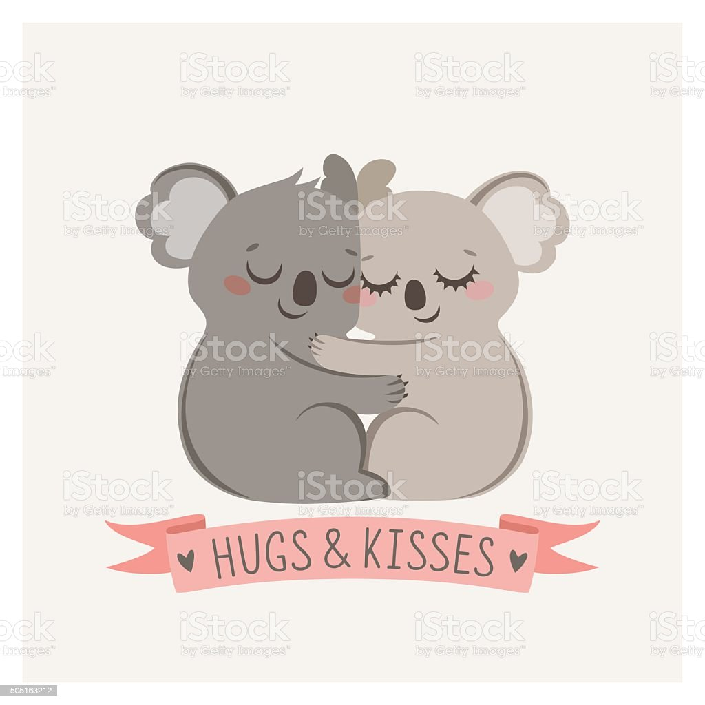 Koala hug vector art illustration