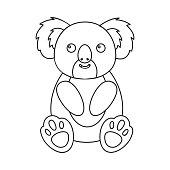Koala icon outline. Singe animal icon from the big animals stock vector..