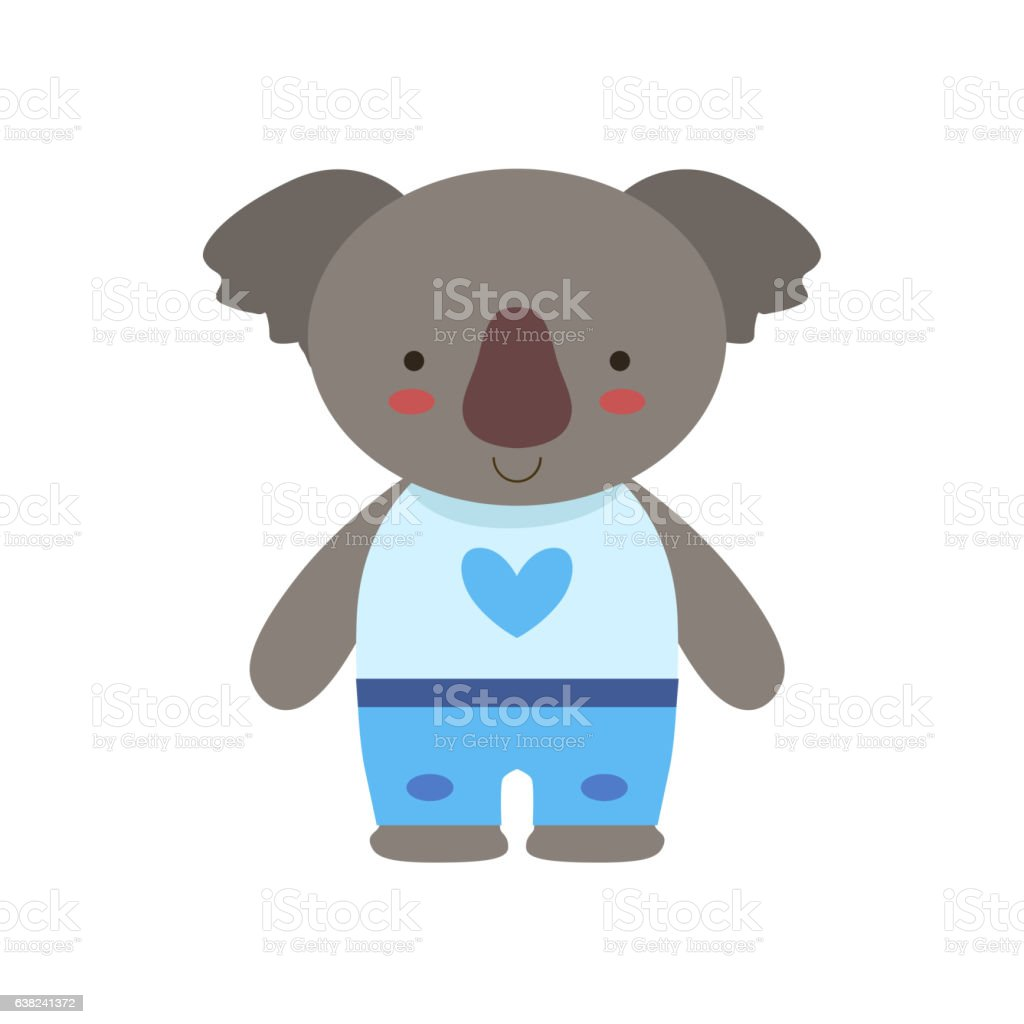 Koala In White Top With Heart Print And Blue Pants vector art illustration