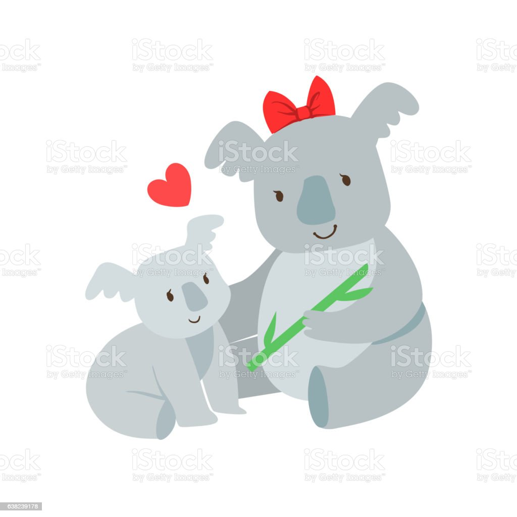 koala mom with red bow animal parent and its baby stock vector art