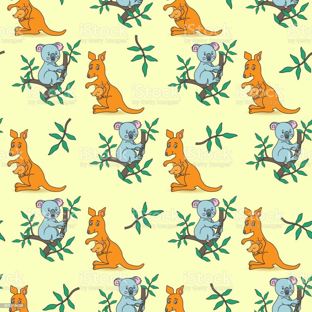 Koala on a eucalyptus kangaroo vector art illustration
