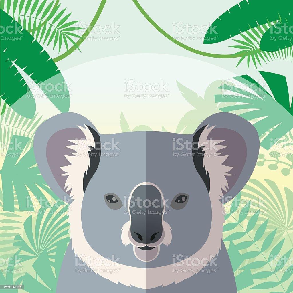 Koala on the Jungle Background vector art illustration