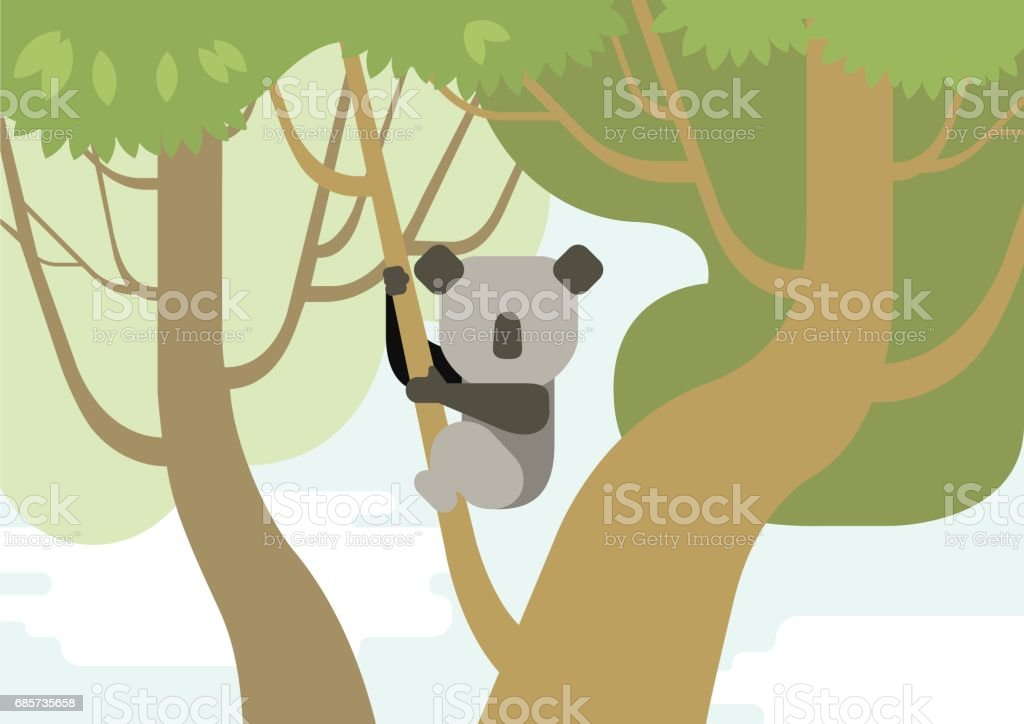 Koala on tree branch flat design cartoon vector wild animals in the forest. Flat zoo children collection. 免版稅 koala on tree branch flat design cartoon vector wild animals in the forest flat zoo children collection 向量插圖及更多 伯利茲 圖片