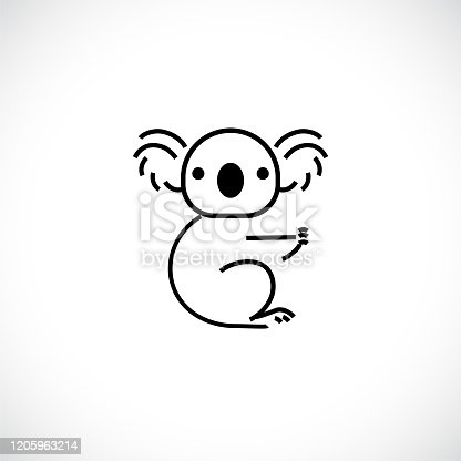 istock Koala outline logo icon. Australian animal for web and design 1205963214