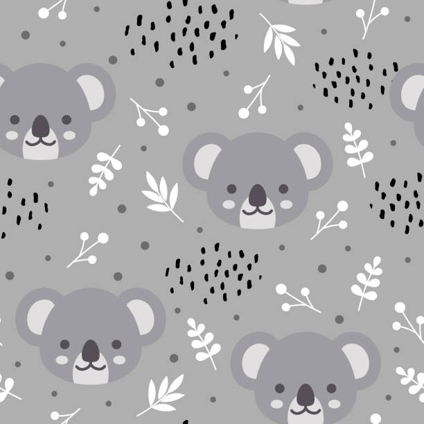 koala pattern - jungle stock illustrations