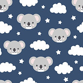 Cute koala seamless pattern, hand drawn forest background with flowers and dots, vector illustration