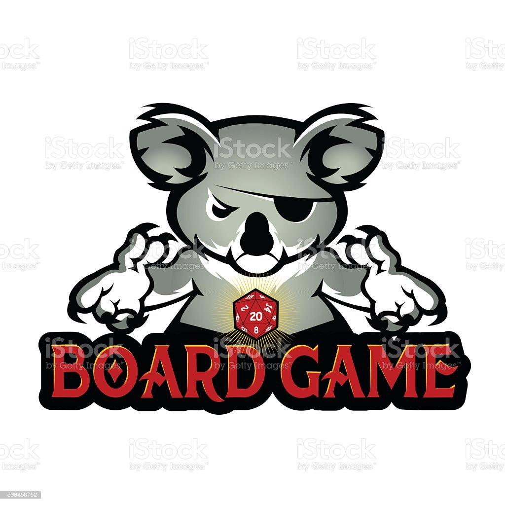 koala playing dice vector art illustration