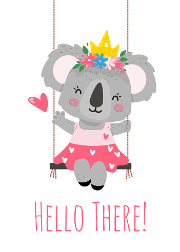 A koala princess with a crown,flowers,cute dress sits on a swing and says hello.Illustration for a card, invitation,posters,t-shirts.