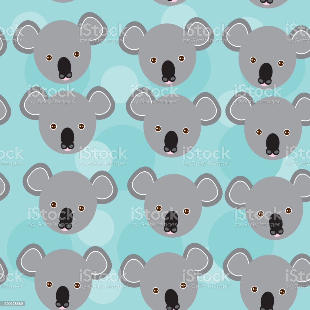koala seamless pattern funny cute animal face on blue background