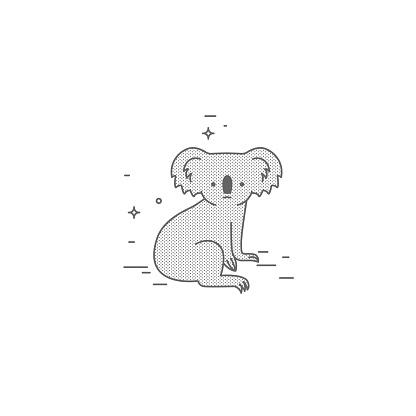 Koala, simple illustration of a cute animal. Logo, sign, symbol, path for laser engraving. Cute fluffy animal.