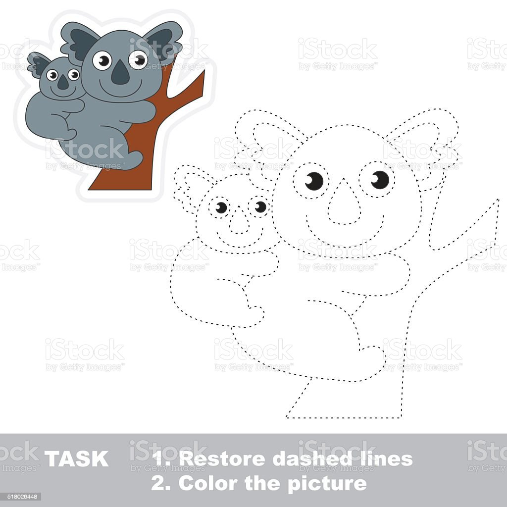 Koala to be traced. Vector trace game vector art illustration