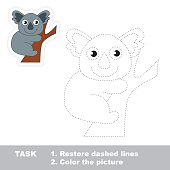 Koala to be traced. Vector trace game
