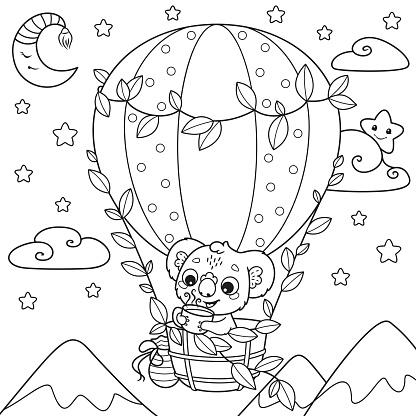 Koala traveler coloring page