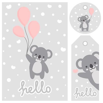 Koala vector print, baby shower card