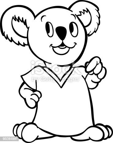Koala wearing shirt line art