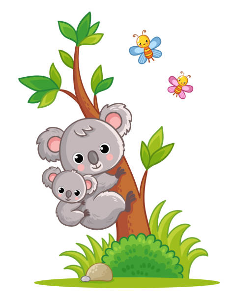 koala with a cub on its back climbs a tree. vector illustration with cute animal. - koala stock illustrations