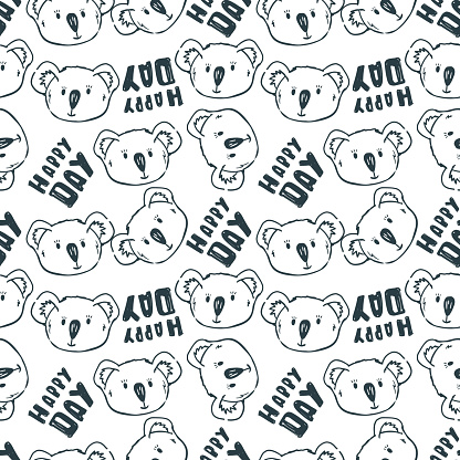 koalas faces and text happy day. Cute kids wallpaper.