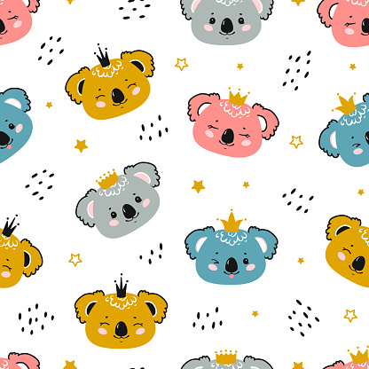 Koalas Princess. Cute Little Baby Koala Bear Face with Crown Seamless Pattern. Kawaii Animal Heads Childish Vector Colorful Background for Kids Fashion Design. Print for Nursery Wallpaper, Baby Shower