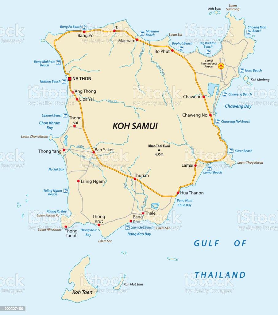 Carte Koh Samui En Francais.Carte De Koh Samui Plage Et La Route De Vecteur Vecteurs