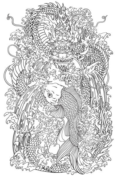 contour de porte Koi et dragon - Illustration vectorielle
