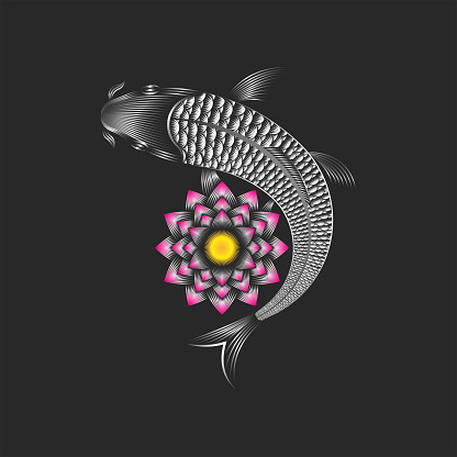 Koi carp and lotus flower creative japanese fish and water lily symbol of luck, prosperity, and good fortune in thin lines, gradient linear art graphic for tattoo or print on clothes