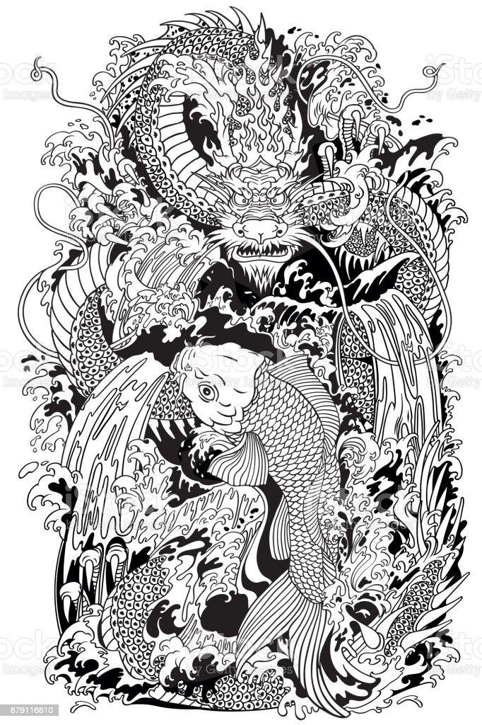 Koi carpa pez y dragon gate. Ilustración blanco y negro - ilustración de arte vectorial