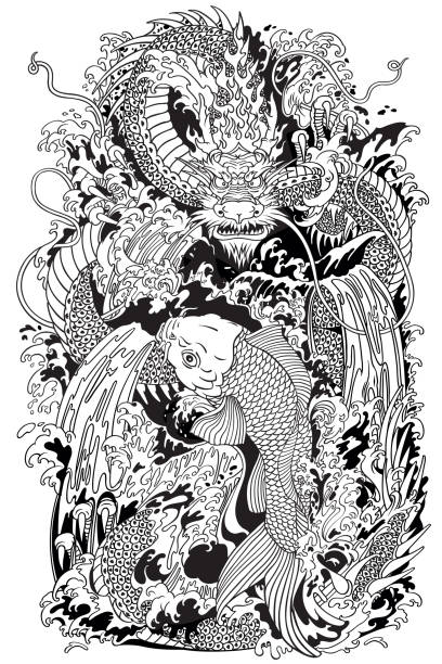Koi carpe poisson et dragon gate. Illustration de noir et blanc - Illustration vectorielle