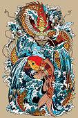 koi carp fish and dragon gate illustration according Asian mythology