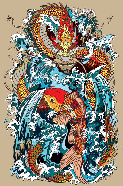 Koi carpe poisson et dragon gate illustration selon la mythologie asiatique - Illustration vectorielle
