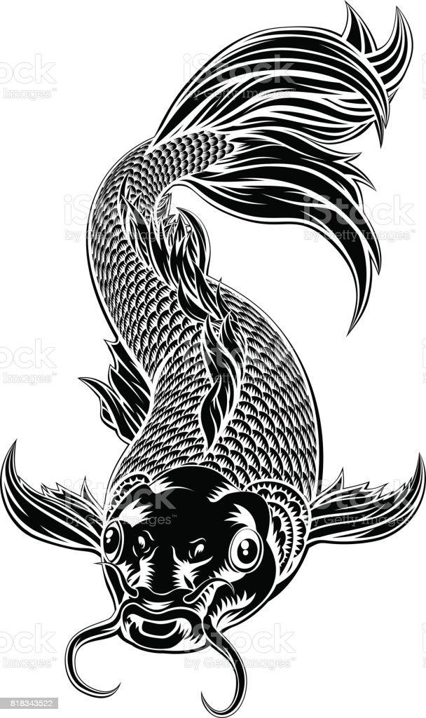 Koi Carp Fish Woodcut Style vector art illustration
