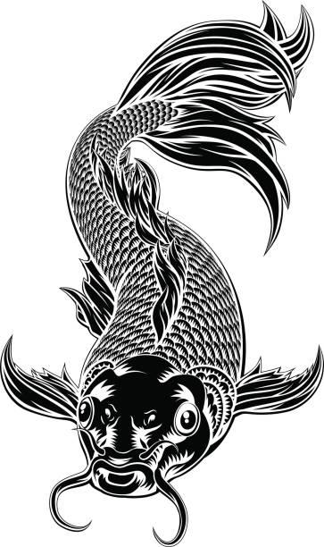 Koi Carp Fish Woodcut Style An oriental koi or coy carp fish in a vintage woodcut style shy stock illustrations