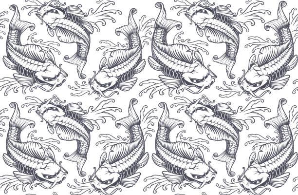 恋鯉シームレス パターン (白背景用バージョン) - アジアのタトゥー点のイラスト素材/クリップアート素材/マンガ素材/アイコン素材