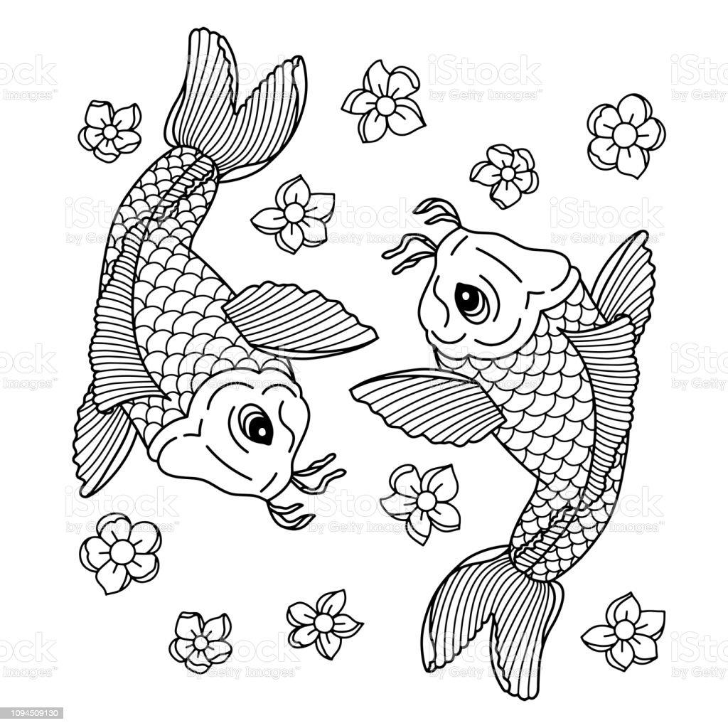 Koi Carp Traditional Japonese Tattoo Flash Tattoo Illustration To