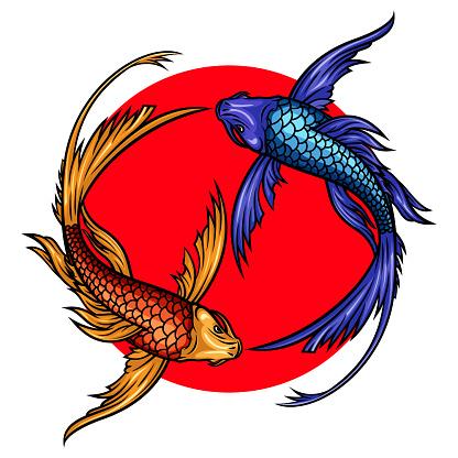 Koi carps on red sun vector illustration.