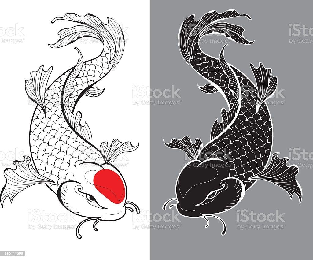 Koi carps tattoo vector art illustration