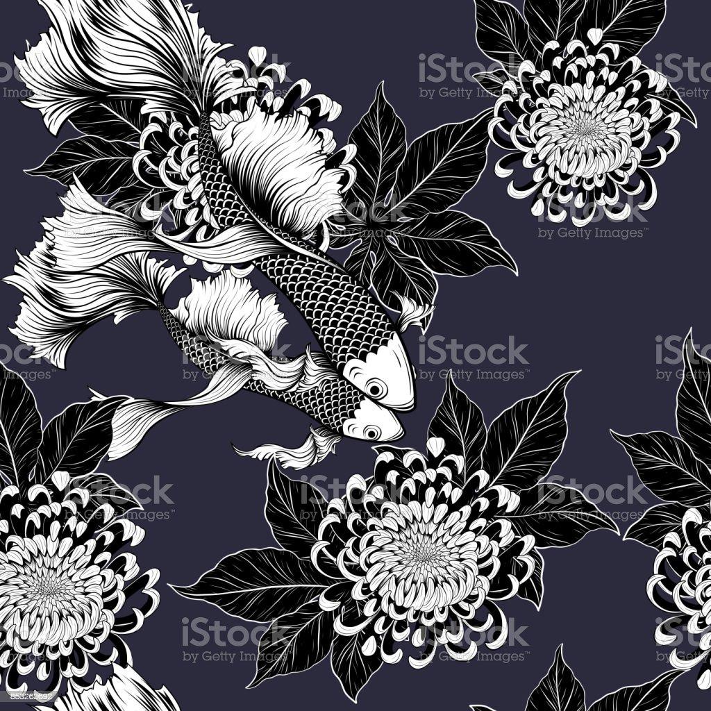 Ilustración de Koi Peces Y Crisantemo Patrón De Dibujo A Mano y más ...