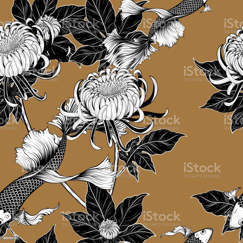 Koi fish and chrysanthemum pattern by hand drawing royalty free koi fish and chrysanthemum