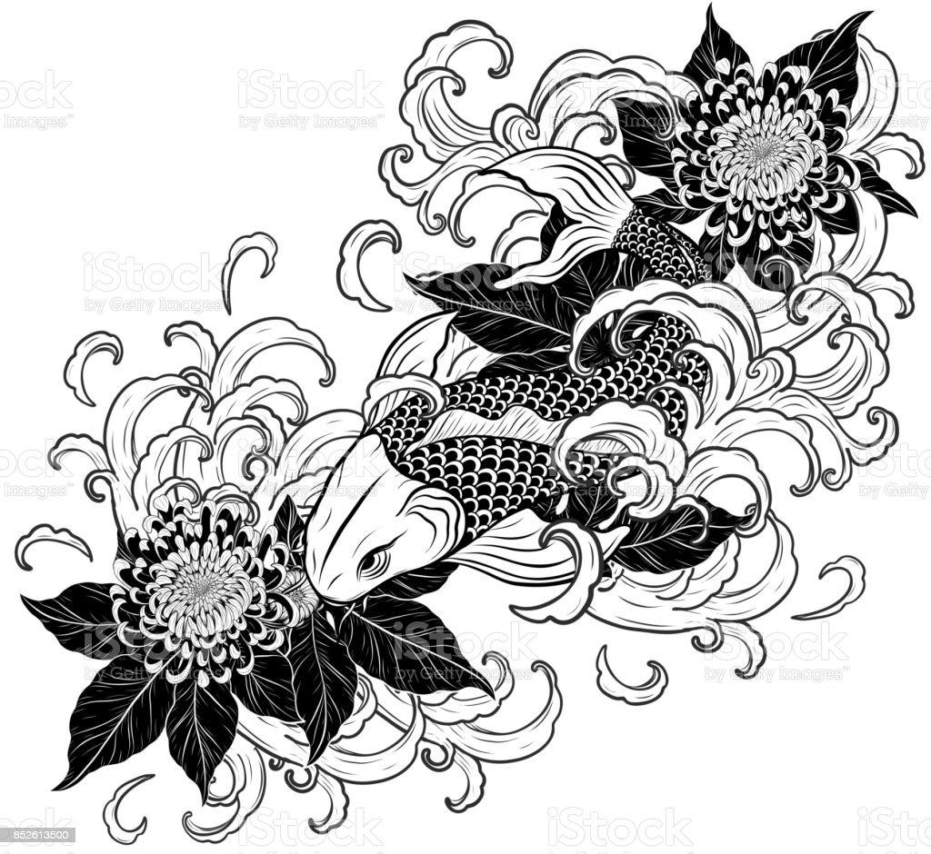 Ilustración de Koi Peces Y Crisantemo Del Tatuaje De Dibujo A Mano y ...