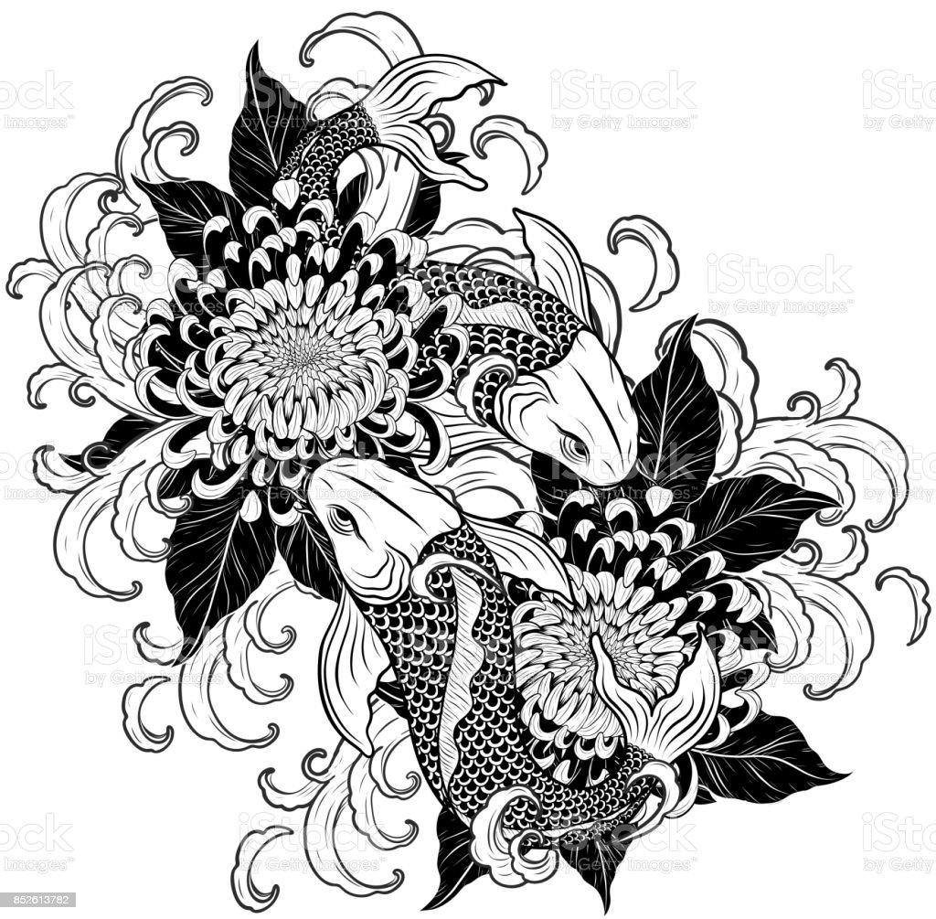 Koi fish and chrysanthemum tattoo by hand drawing stock vector art koi fish and chrysanthemum tattoo by hand drawing royalty free koi fish and chrysanthemum tattoo izmirmasajfo