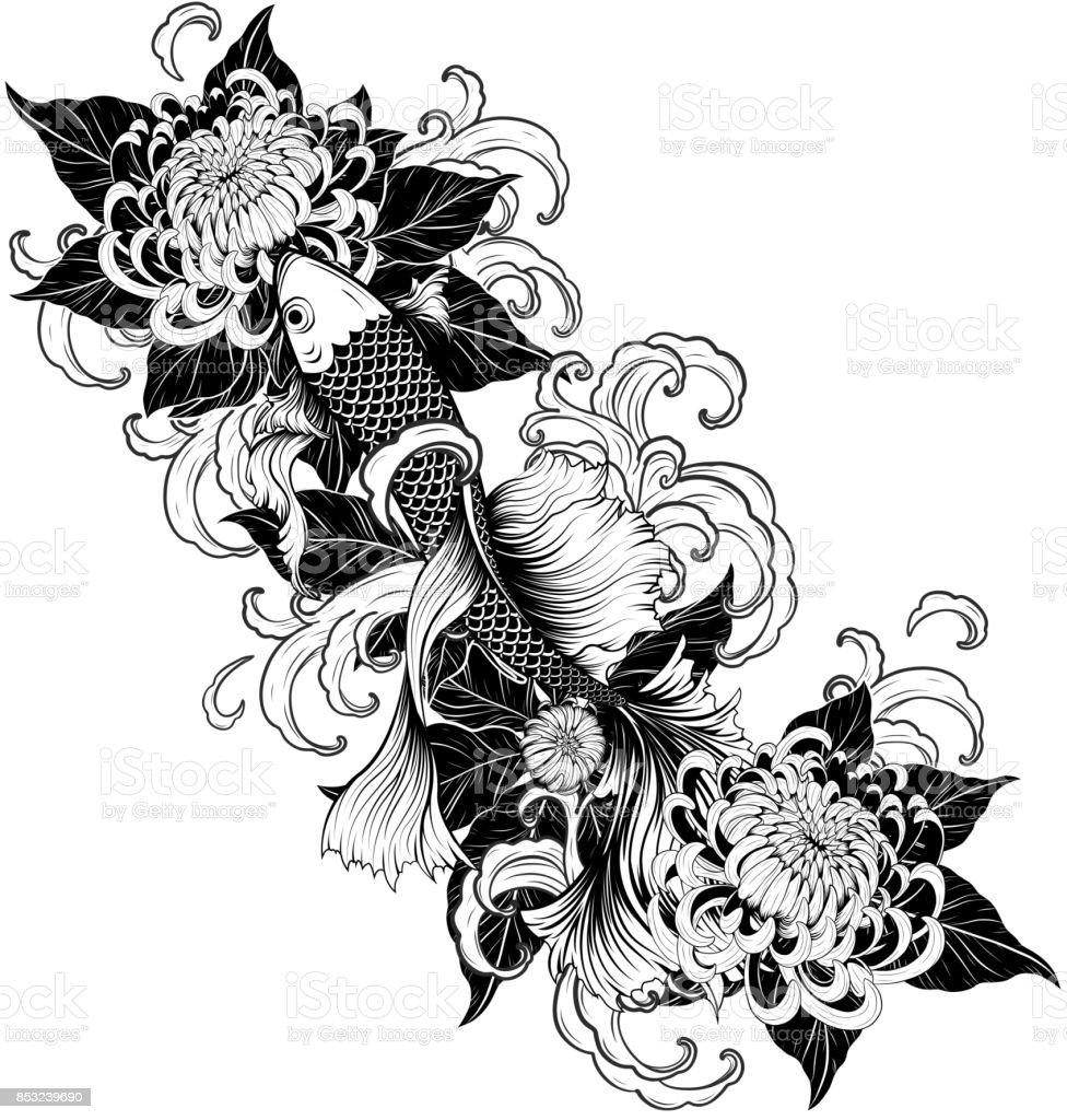 Koi fish and chrysanthemum tattoo by hand drawing stock vector art koi fish and chrysanthemum tattoo by hand drawing royalty free koi fish and chrysanthemum tattoo izmirmasajfo Images
