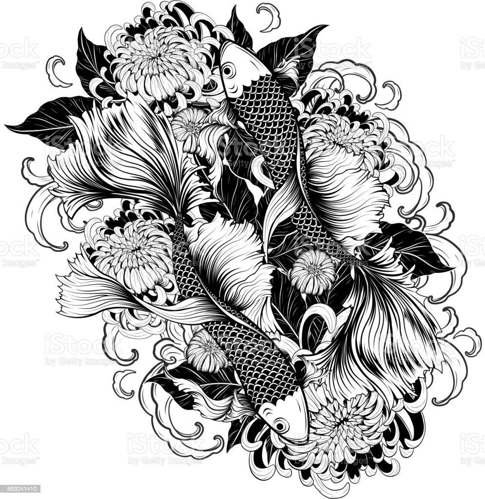 Koi Fish And Chrysanthemum Tattoo By Hand Drawing Stock Vector Art