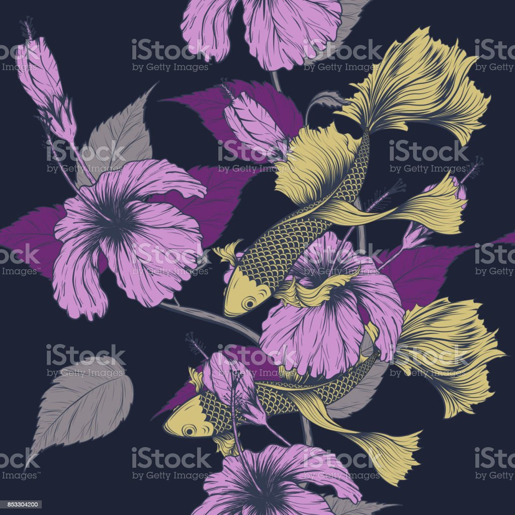 Koi fish and hibiscus flower pattern by hand drawing stock vector koi fish and hibiscus flower pattern by hand drawing royalty free koi fish and hibiscus izmirmasajfo